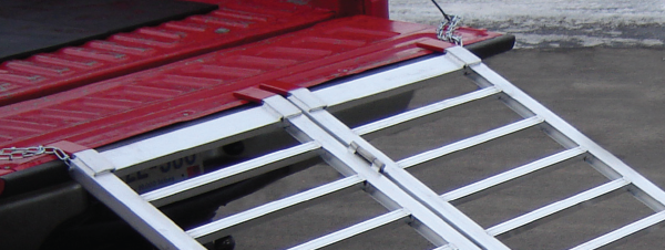 Rubber coated arms on aluminum utility ramp