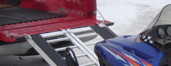 Safety chains on aluminum snowmobile ramp